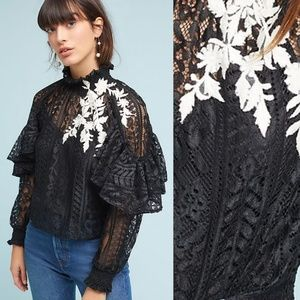 RARE NWT ANTHROPOLOGIE Karina Ruffled Lace Blouse